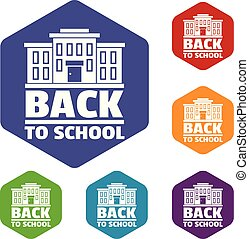 Back to school icons vector hexahedron