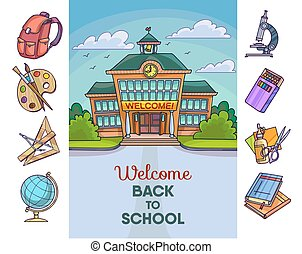 Back to school illustration. Building and supplies