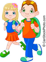 Back to school - Illustration of girl and boy go to school