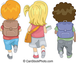 Back to School - Illustration of Kids Going to School