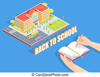 Back to School Illustration on Blue Background