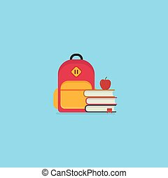 Back to school illustration, Stack of book with red apple and backpack. Education concept