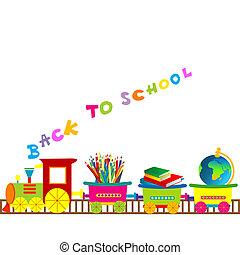 Back to school illustration with cartoon train