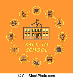 Back to school illustration with education icons