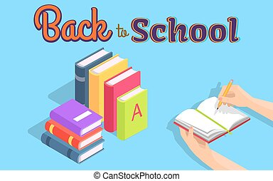 Back to School Illustration with Stack of Books