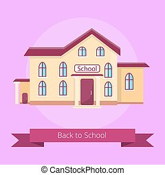 Back to School Isolated Illustration on Purple - Back to...