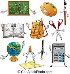 Back to school items cartoon characters