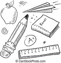 Back to school items sketch - Doodle style school theme...