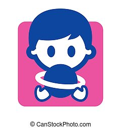 Back to school. Kid holding a globe in hands with pink background - vector flat graphic icon