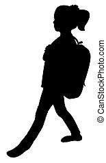 back to school kid silhouette
