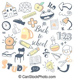 Back to School Kids Hand Drawn Doodle with Boy, Pen and Mathematics. Education Concept. Vector illustration