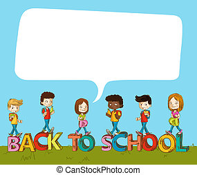 Back to school kids over text with social bubble.