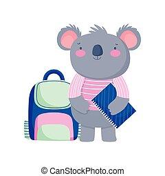 back to school, koala backpack and book study cartoon