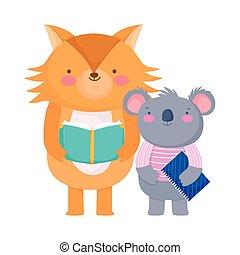 back to school, koala reading book koala with notepad cartoon
