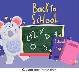 back to school, koala with books and chalkboard cartoon