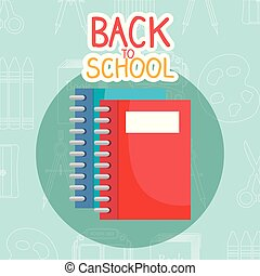 back to school label with notebook