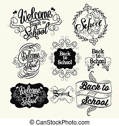 Back to school labels. Lettering and calligraphic design elements. Vector illustration