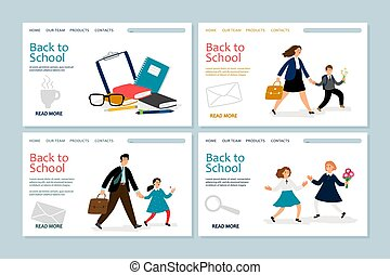 Back to school landing page template. Vector banners with school kids, parents, stationery