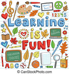 Back to School Learning Doodles Set - Learning is Fun Back ...