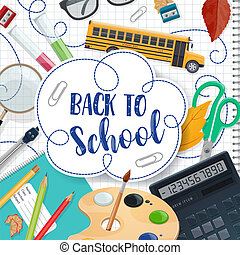 Back to School lettering and stationery poster