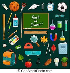 Back to school lettering on blackboard, stationery