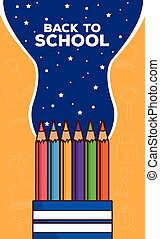back to school lettering with colors pencils