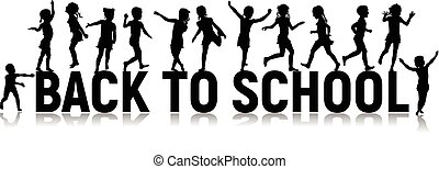 Back to school letters and silhouettes happy children