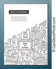 Back to School - line design brochure poster template A4 -...