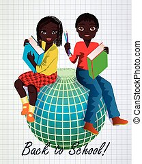 Back to School. Little african girl