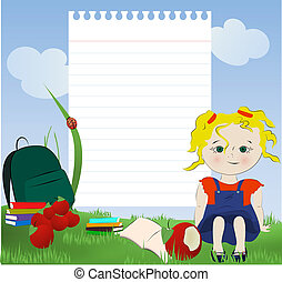 Little blond girl sitting on the grass with books, schoolbag ,snack and notepad paper for your text