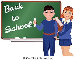 Back to School . Little boy&girl