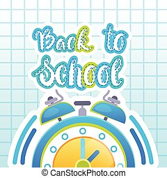 Back To School Logo Clock On Notebook Background