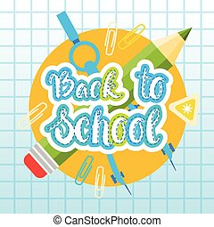 Back To School Logo Text On Notebook Background With Studing Supplies