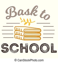 Back to school logo with books sign