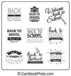 Back To School Logos Set Doodle Hand Drawn Label Collection