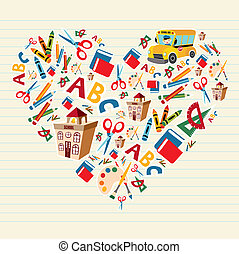 Set of school tools and supplies in heart shape background. Vector file layered for easy manipulation and custom coloring.