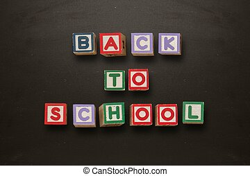 Back to school message in blocks