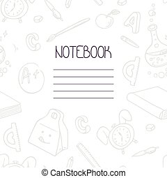 Back to school monochrome doodle notebook design and hand lettering sign. School supplies seamless pattern included in swatches