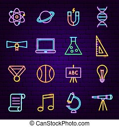 Back to School Neon Icons