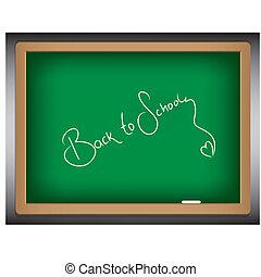 back to school on green board