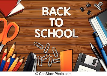 Back to school on wooden template