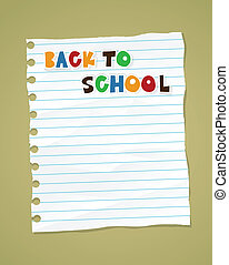 Back to school on wrinkled lined paper. Vector eps 10