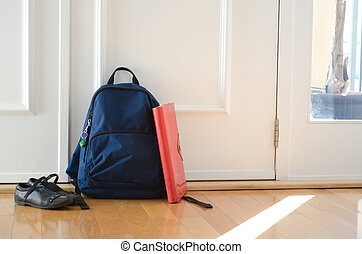 Back to school or ready for school concept with school bag...