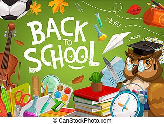 Back to School, owl and student education supplies