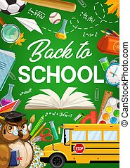 Back to School, owl, school bus, study supplies