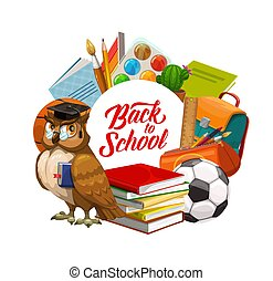 Back to School owl with books and study supplies