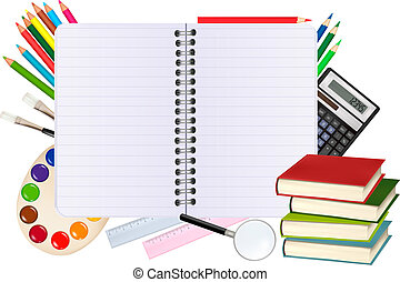 Back to school. Paper with school supplies. Vector.