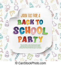 Back to school party poster template.