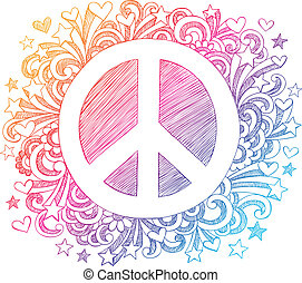 Peace Sign Sketchy Doodle Vector - Back to School Peace Sign...