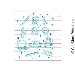 Back to school - pen sketch background